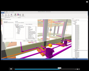 Tela mostra as interferências entre tubos e vigas em projeto de construção